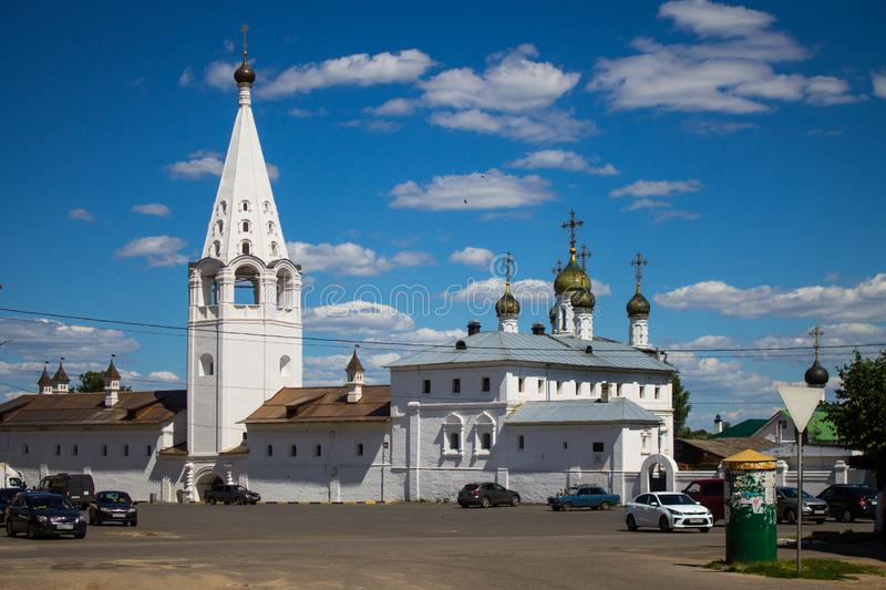 Panorama of Gorokhovets in Russia on a clear summer day. Beautiful panorama of Gorokhovets Russia on a clear summer day with sights royalty free stock images