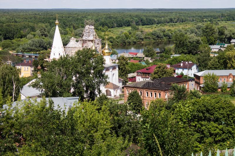 Panorama of Gorokhovets in Russia on a clear summer day. Beautiful panorama of Gorokhovets Russia on a clear summer day with sights royalty free stock photos