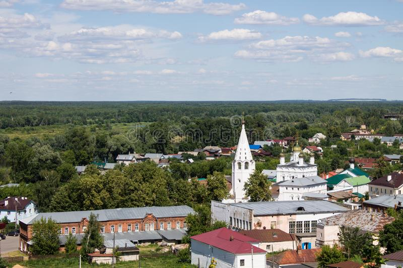Panorama of Gorokhovets in Russia on a clear summer day. Beautiful panorama of Gorokhovets Russia on a clear summer day with sights stock photography
