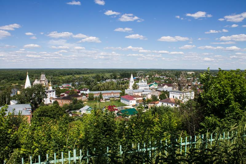 Panorama of Gorokhovets in Russia on a clear summer day. Beautiful panorama of Gorokhovets Russia on a clear summer day with sights stock image