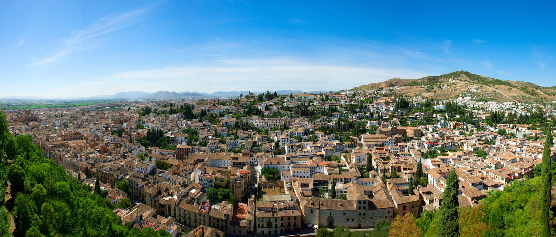 Panorama of Granada, Spain stock photography