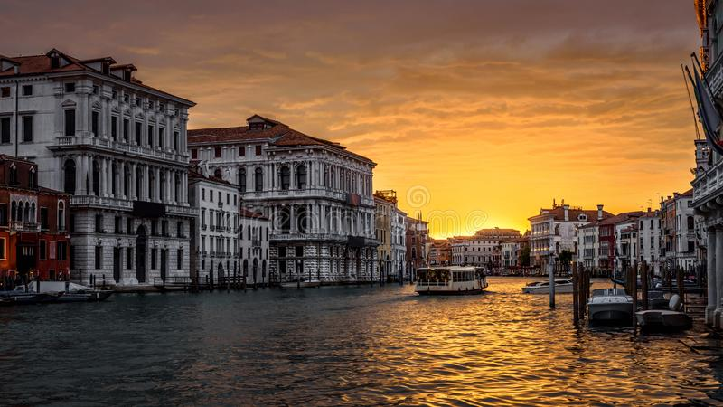 Panorama of Grand Canal at sunset, Venice stock images