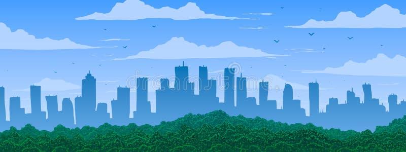 Panorama grande de la historieta de la ciudad en el día soleado stock de ilustración