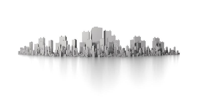 Panorama grande del horizonte de la ciudad stock de ilustración