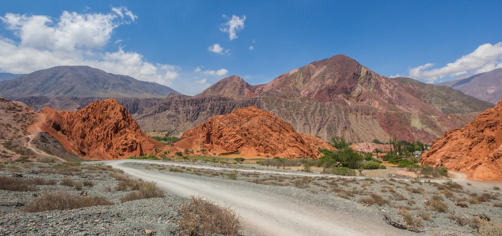 Panorama of a gravel road in the Andes mountain near Purmamarca. Argentina stock image