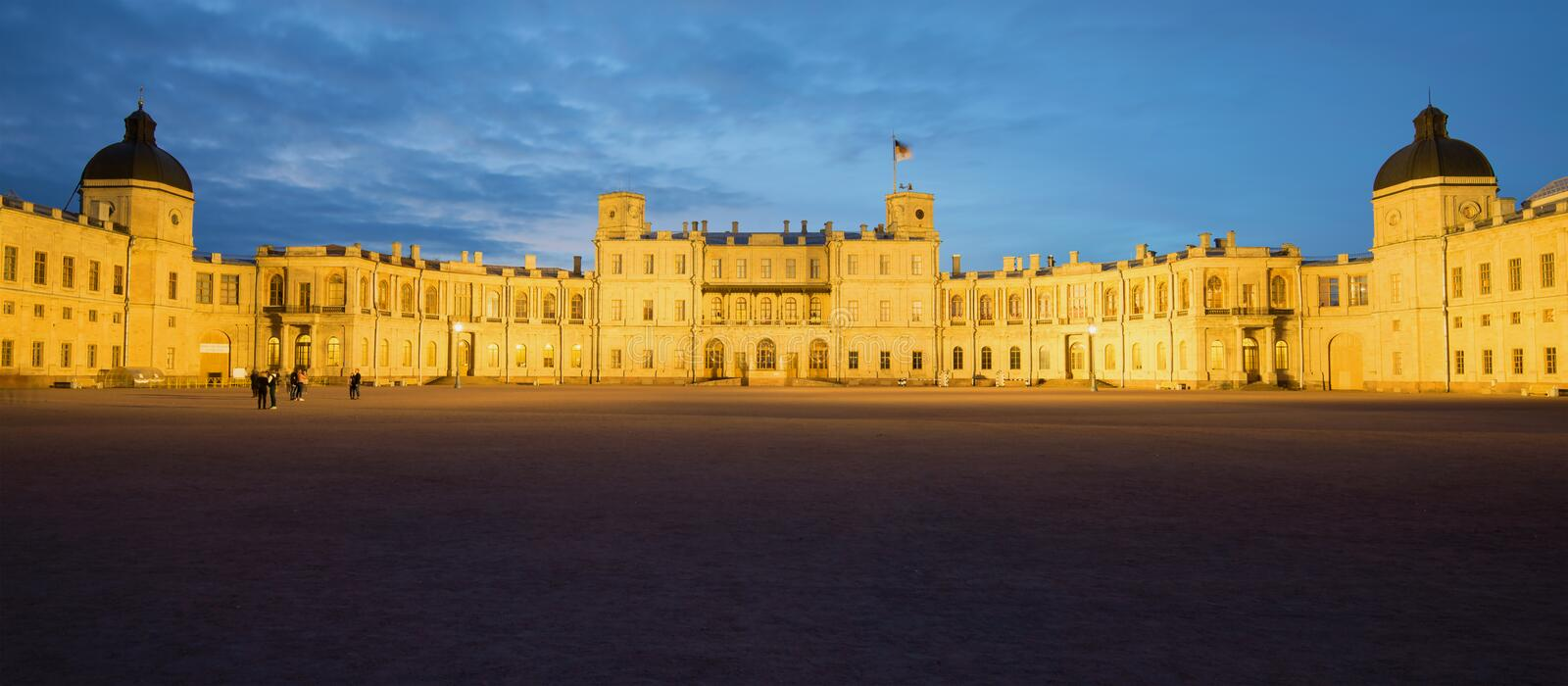 Panorama of the Great Gatchina Palace in the May twilight. Gatchina, Russia royalty free stock photos