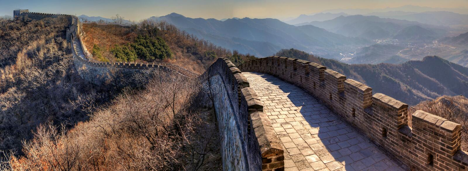 The great wall of china from right to left on a clear winter day royalty free stock images