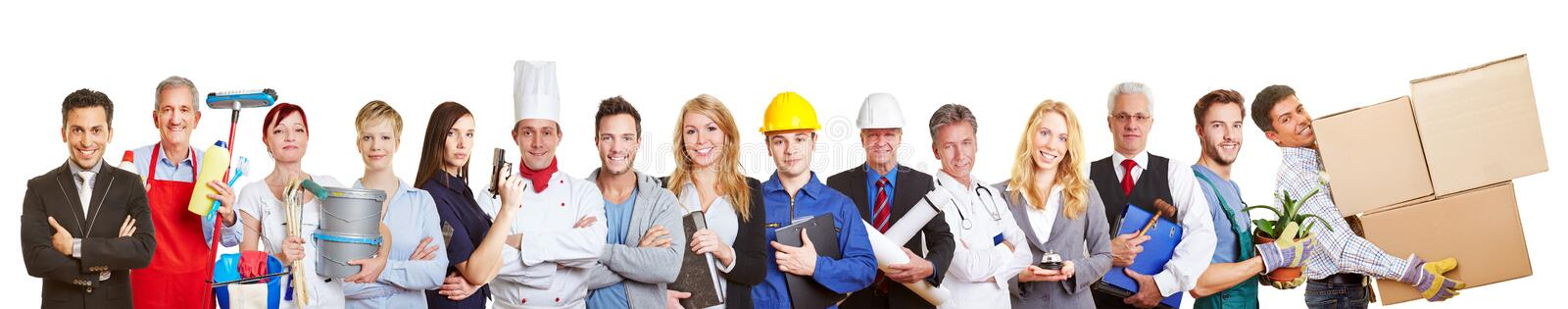 Panorama group of people from many trades and professions royalty free stock image