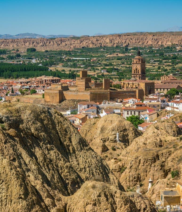 Panorama in Guadix, op het Sierra Nevada -grondgebied, provincie van Granada, Spanje royalty-vrije stock afbeelding