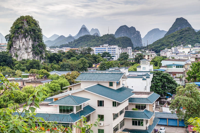 Panorama of Guilin and its karst mountains from Fubo hill royalty free stock photos