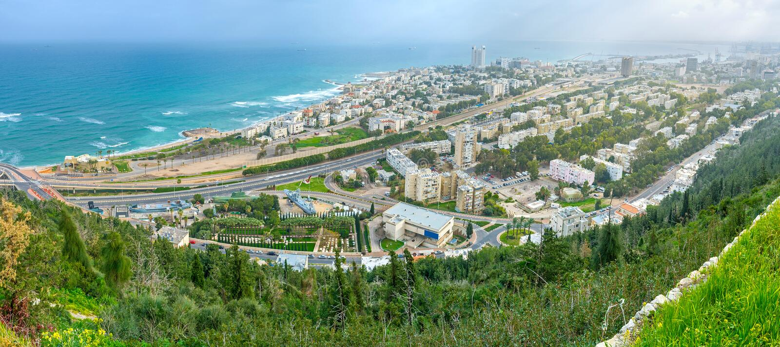 Panorama of Haifa. From the slope of Carmel Mount, overlooking residential districts, beaches and the coastline, Israel stock photo