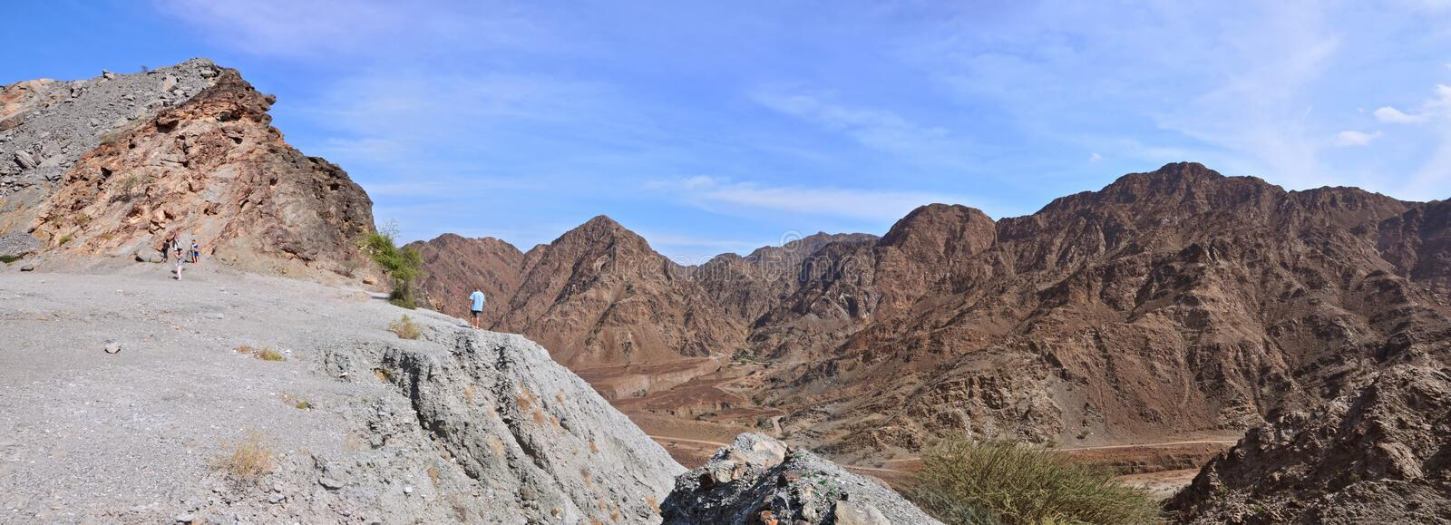 Panorama Hajjar mountain. emirate fujairah. United arab emirates royalty free stock photos