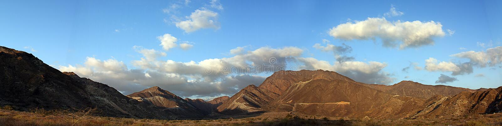 Panorama Hajjar mountain. emirate fujairah. United arab emirates royalty free stock image