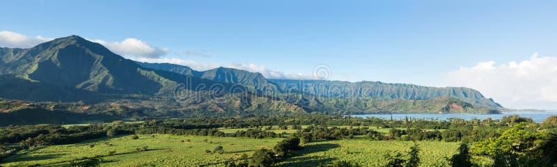 Panorama of Hanalei on island of Kauai stock image