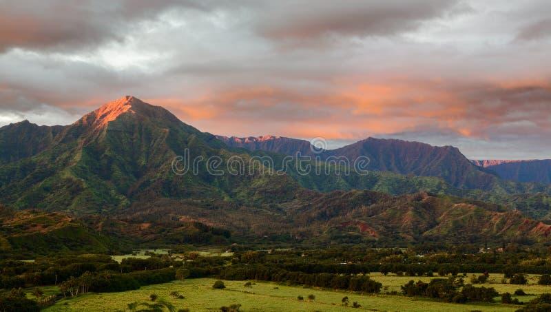 Panorama Hanalei na wyspie Kauai obraz royalty free