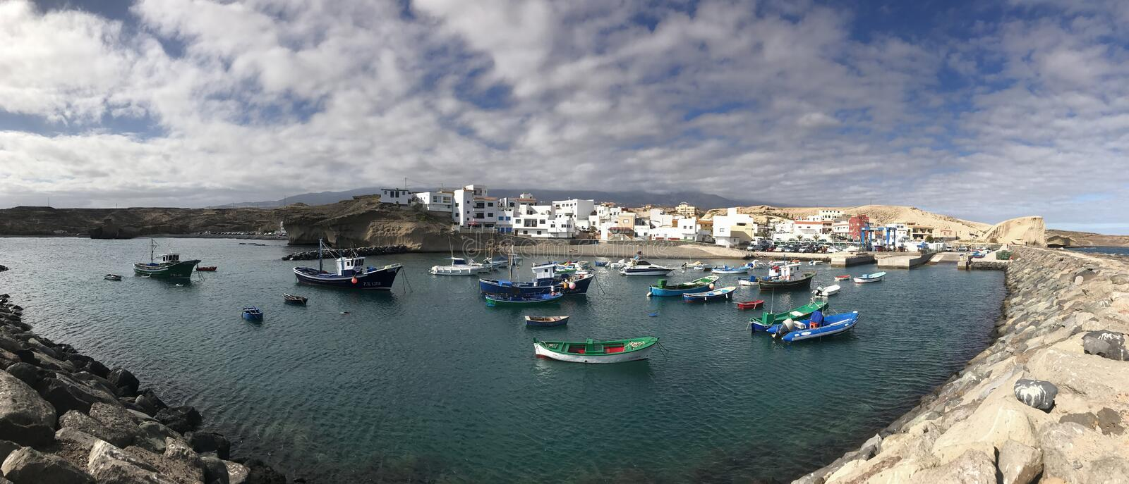 Panorama from the harbour. In San Miguel de Tajao Tenerife stock photo