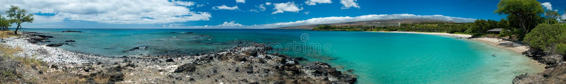 Panorama havaiano da praia fotografia de stock
