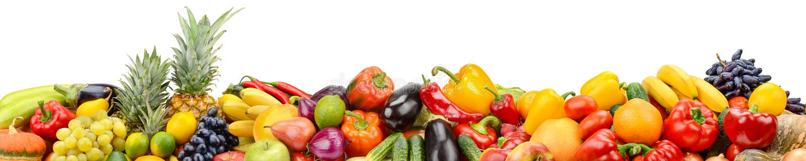 Panorama of healthy vegetables and fruits isolated on white back stock image