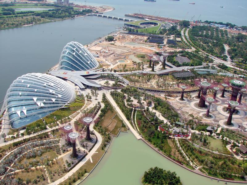 Singapore. Panorama of the Asian metropolis from the height of the TV tower. Panorama from the height of the TV tower artificial rivers with young vegetation royalty free stock photos