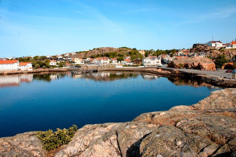 Panorama hermoso de Lysekil en Suecia imagen de archivo