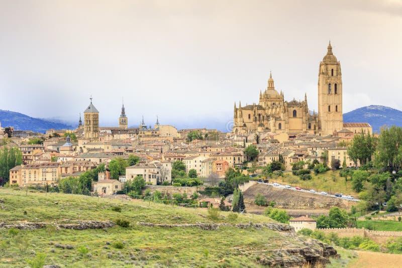 Panorama hermoso de Segovia, España imagenes de archivo