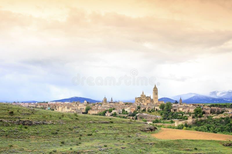Panorama hermoso de Segovia, España imagen de archivo