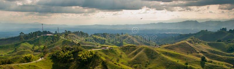 Panorama in het gebied van de koffiedriehoek van Colombia stock fotografie