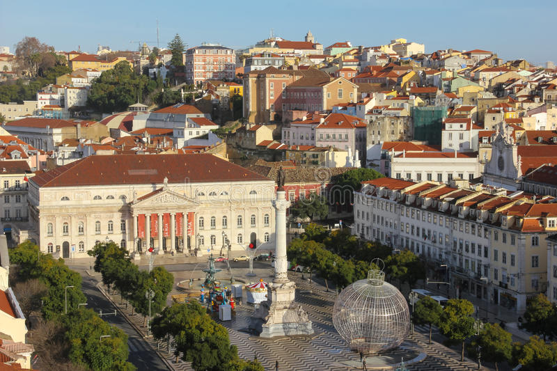 Panorama. Het nationale vierkant van Teather en Rossio-.  Lissabon. Portugal stock foto's