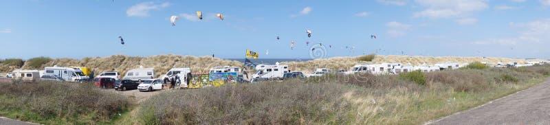 Panorama het surfen gebied stock afbeelding