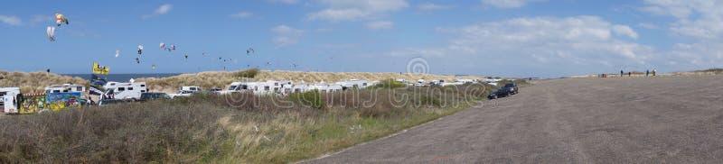 Panorama het surfen gebied stock foto's