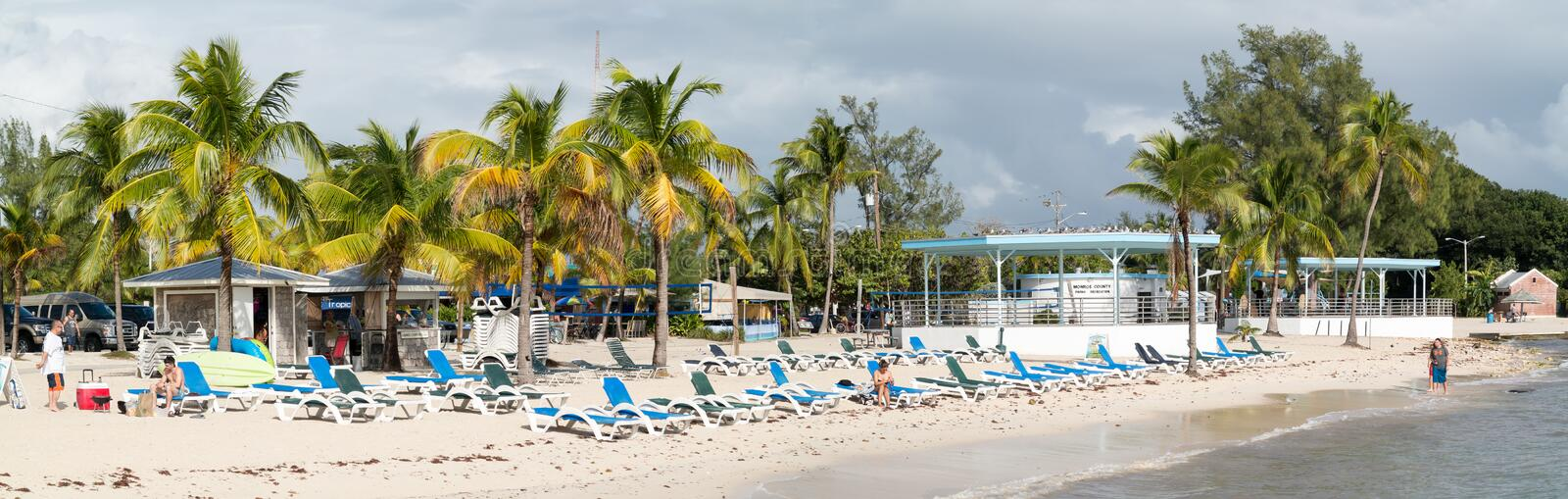 Panorama Higgs Beach in Key West, Florida Keys. Panorama of Higgs Beach with people at south coast of Key West, Florida Keys, USA stock photo