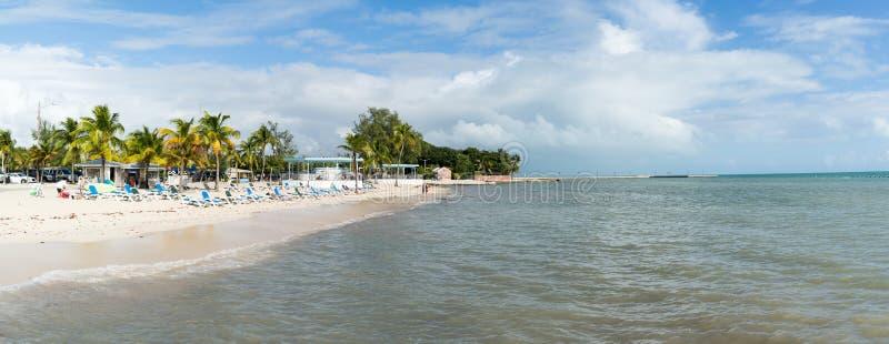 Panorama Higgs Beach in Key West, Florida Keys. Panorama of sea and Higgs Beach at south coast of Key West, Florida Keys, USA royalty free stock photo