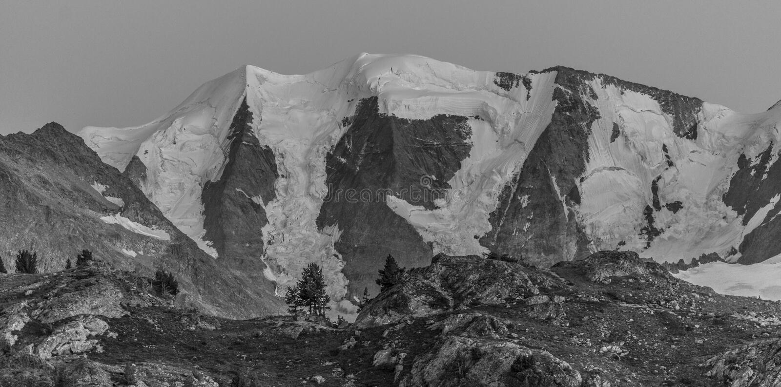 Panorama of high mountains black and white royalty free stock photos
