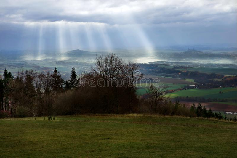 Panorama of highland from Kozakov hill, Czech Paradise, Czech republic royalty free stock photos