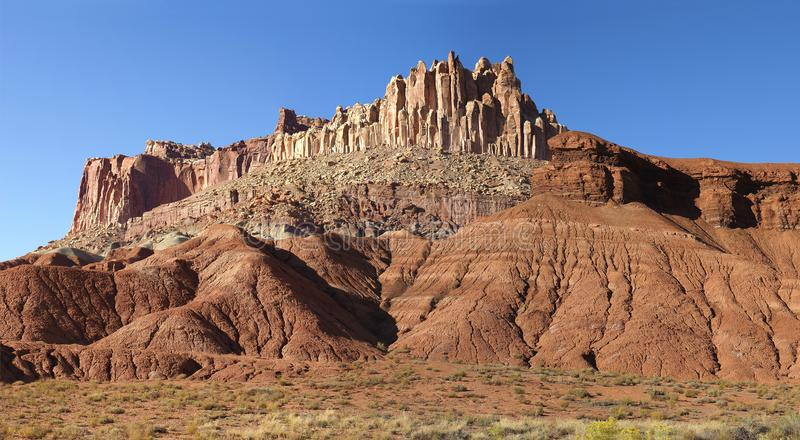 Panorama of the Highly Eroded Sandstone Formations of Capital Re royalty free stock photography