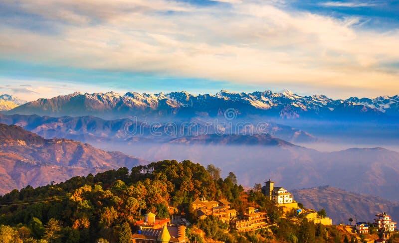 Himalaya mountains. Panorama of Himalaya ,more than a dozen magnificent snow mountains under sunset ,China ,Nepal stock photo