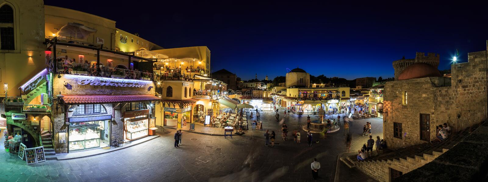 Panorama of Hippocrates square of the old city of Rhodes Greece stock photography