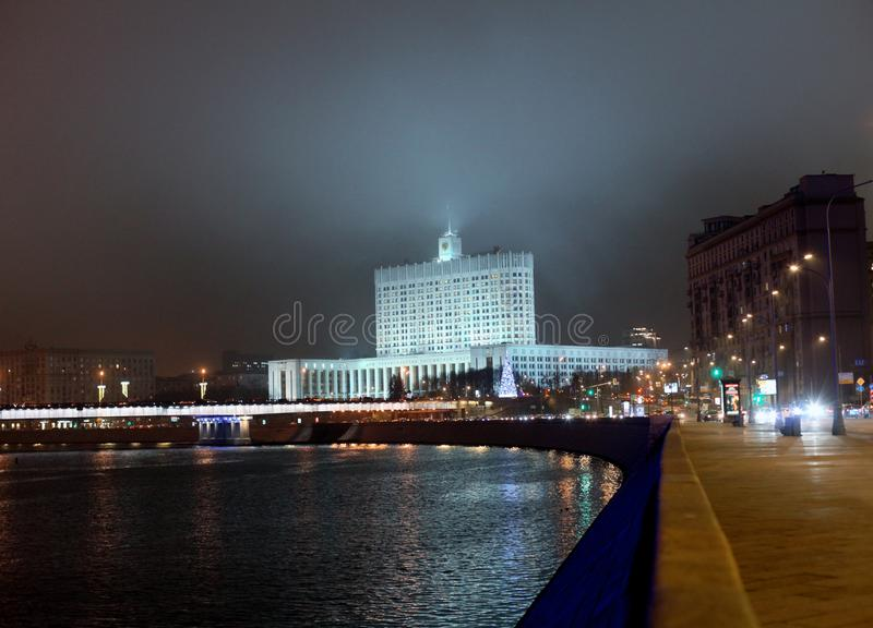 Panorama of the historic high-rise building in the center of Moscow. Night shooting of urban landscape.government house royalty free stock images