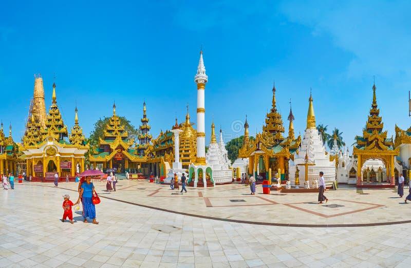 Panorama of historic shrines in Shwedagon, Yangon, Myanmar royalty free stock photography