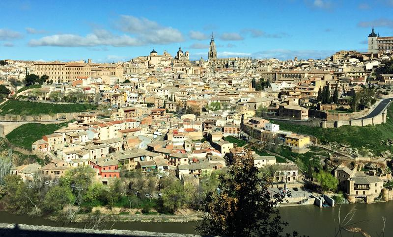Panorama of the historical beautiful Spanish city of Toledo in March 2018 royalty free stock images