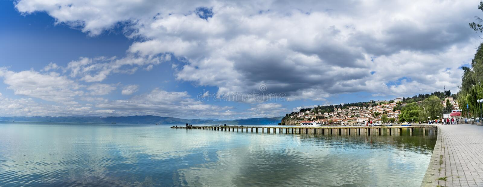 Panorama, historical part of unesco listed town ohrid is located next to the ohrid lake. And spread all over the hill with fortress of tzar samuel at the top stock photos