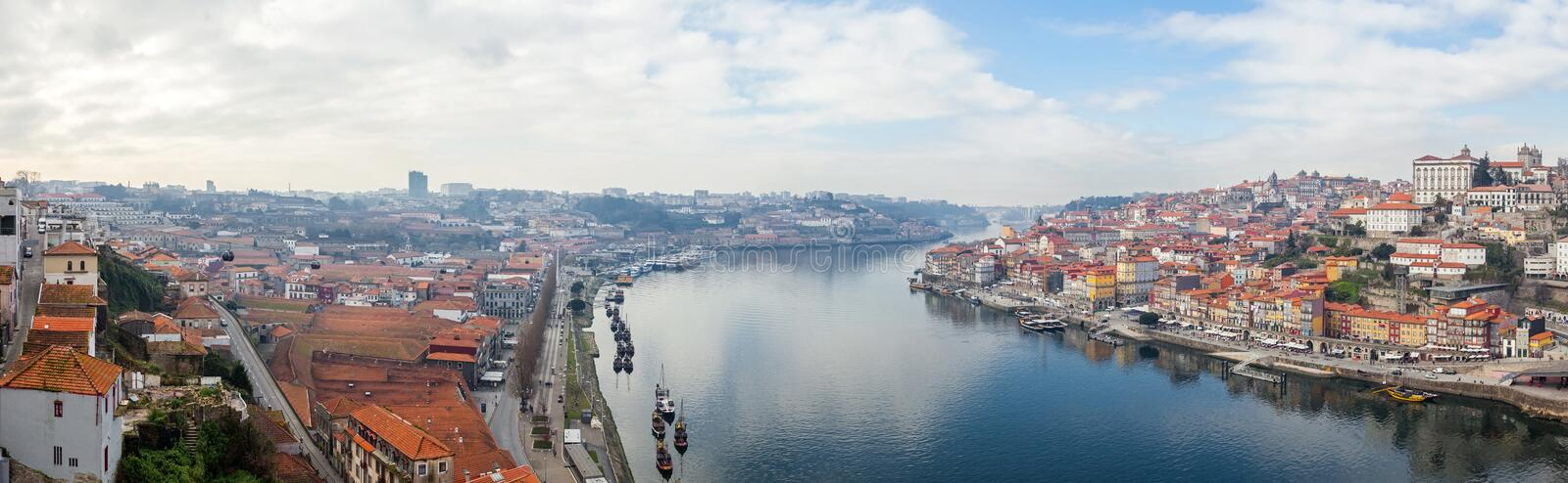Panorama of the historical Ribeira District and Douro River royalty free stock images