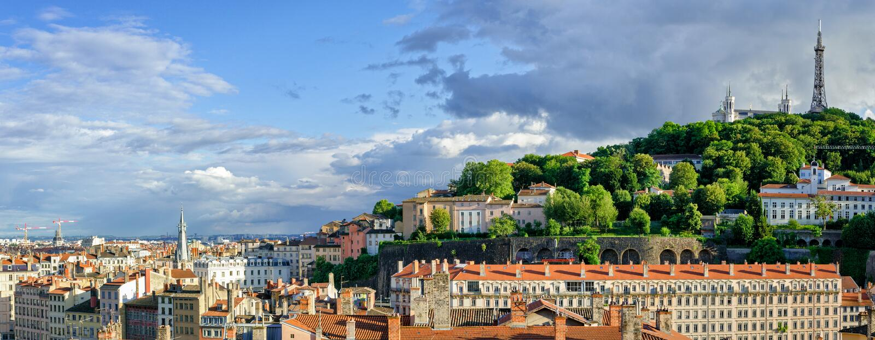 Panorama hoher Auflösung Lyons Frankreich stockfotografie