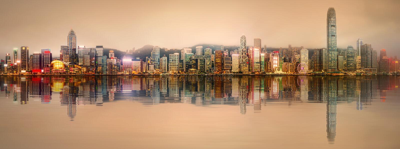 Panorama Hong Kong i Pieniężny okręg obrazy stock