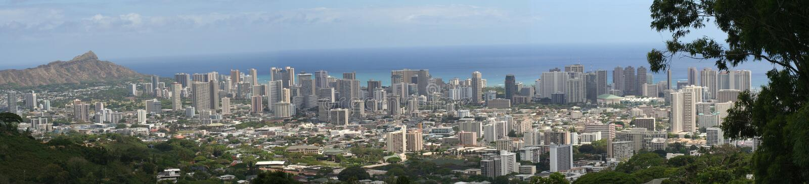 Panorama of Honolulu/Waikiki royalty free stock photography
