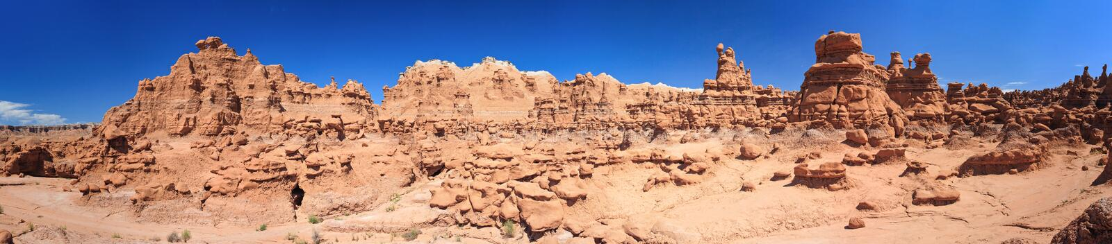 Panorama of Hoodoo Rock pinnacles in Goblin Valley State Park Utah USA stock photography