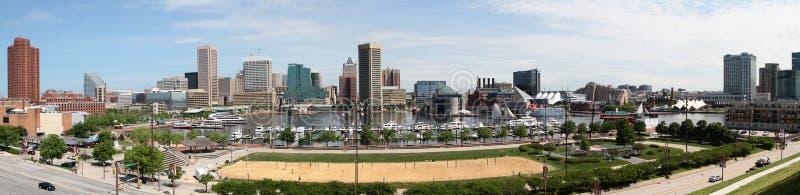 Panorama- horisont Baltimore Maryland för inre hamn arkivfoto