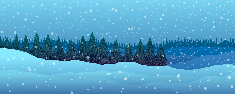Panorama Horizontal de l'hiver Forêt de sapins illustration libre de droits