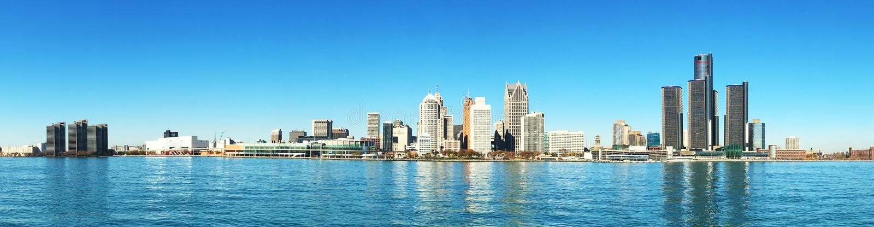 Panorama horizonte de la Detroit, Michigan foto de archivo libre de regalías