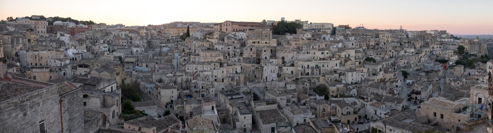 Panorama of houses built into the rock in the cave city of Matera, Sassi di Matera, Basilicata Italy. Matera has been designated European Capital of Culture royalty free stock image